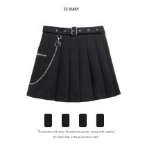 skirt Summer 2021 S,M,L,XL black Short skirt Versatile High waist A-line skirt Solid color Type A other other Three dimensional decoration, zipper, stitching