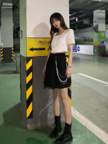 skirt Summer 2021 S,M,L Black (with waist chain) Short skirt Versatile High waist Pleated skirt Solid color 51% (inclusive) - 70% (inclusive) other other Three dimensional decoration, splicing
