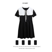 Dress Summer 2021 black S,M,L Mid length dress Two piece set Short sleeve commute Crew neck High waist Solid color Socket A-line skirt routine Others Type H Lacing, stitching, strapping, beads 31% (inclusive) - 50% (inclusive) other other
