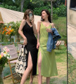 Dress Summer 2021 Green, black split S,M,L longuette singleton  commute V-neck High waist Socket A-line skirt straps 51% (inclusive) - 70% (inclusive) other