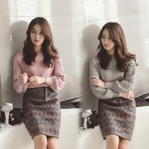 Dress Autumn 2020 Pink suit, grey suit S,XL,2XL,L,M Short skirt Two piece set Long sleeves commute Crew neck High waist Solid color Socket A-line skirt routine Others 18-24 years old Type A Korean version 51% (inclusive) - 70% (inclusive) knitting other