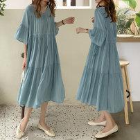 Women's large Summer 2020 sky blue Large XL, large XXL, large XXL, large XXXXL, large XXXXL Dress Sweet easy thin V-neck longuette Ruffle Skirt Lotus leaf edge Ruili