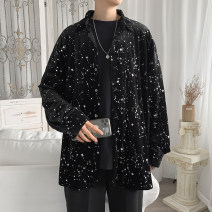 shirt Youth fashion PLQV M L XL 2XL black routine Pointed collar (regular) Long sleeves easy Other leisure spring Z269 teenagers Cotton 50% new polyester 50% Punk 2021 The starry sky Color woven fabric Spring 2021 No iron treatment cotton printing Pure e-commerce (online only)