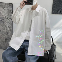 shirt Youth fashion PLQV M L XL 2XL Black and white routine Pointed collar (regular) Long sleeves easy Other leisure spring PJK20211301 teenagers Cotton 90% other 10% like a breath of fresh air 2021 Animal design Color woven fabric Spring 2021 No iron treatment cotton printing