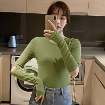 T-shirt White, black, blue, green, brick red Average size Autumn of 2019 Long sleeves Crew neck Self cultivation Regular routine commute cotton 86% (inclusive) -95% (inclusive) 18-24 years old Korean version youth 228#(2)