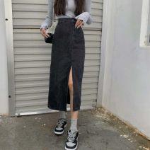 skirt Summer 2021 S,M,L,XL Black grey [high quality], blue [high quality] Mid length dress High waist A-line skirt Make old, button, zipper