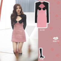 Dress Spring 2021 Peach blossom powder S,M,L Short skirt singleton  Long sleeves commute Crew neck High waist other Socket One pace skirt routine Type H lady Cutout, stitching, zipper 0296YM 31% (inclusive) - 50% (inclusive) polyester fiber