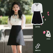 Dress Winter 2020 white S,M,L Short skirt singleton  elbow sleeve Sweet Lotus leaf collar High waist Solid color A-line skirt Princess sleeve Type A 51% (inclusive) - 70% (inclusive) Chiffon polyester fiber Ruili