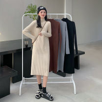 Dress Winter 2020 Apricot, grey, black, coffee Average size longuette singleton  Long sleeves commute High collar Loose waist Solid color Socket One pace skirt routine 18-24 years old Type H Korean version 30% and below other