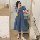 Dress Summer 2021 Light blue, dark blue S,M,L Mid length dress singleton  Short sleeve commute square neck High waist A-line skirt puff sleeve 18-24 years old Type A Retro fold