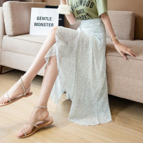 skirt Frenulum Summer 2021 30% and below other Medium length skirt High waist A-line skirt commute Design and color 18-24 years old Type A 0506 Chiffon Korean version One size fits all