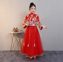 Dress Spring 2021 Red, red plush 120 (recommended height 120), 130 (recommended height 130), 140 (recommended height 140), 150 (recommended height 150), 160 (recommended height 160), 170 (recommended height 170) longuette Long sleeves Annie manlu L50 skirt Plush