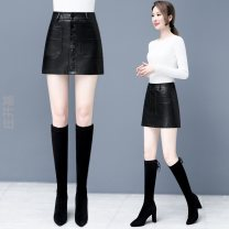 skirt Winter 2016 S,M,L,XL,XXL,XXXL,4XL,5XL Yellow, black~$ Short skirt skirt Solid color PQI6502