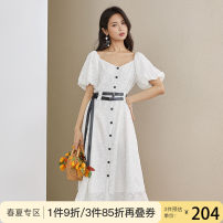 Dress Summer 2020 white XS S M L XL Mid length dress singleton  Short sleeve commute square neck High waist Solid color Single breasted A-line skirt puff sleeve Others 25-29 years old Type A Van schlan Korean version Hollow stitching gauze Z200849 More than 95% other polyester fiber Polyester 100%