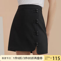 skirt Summer 2020 XS S M L XL Black dark grey brown yellowish brown Short skirt commute High waist A-line skirt Solid color Type A 25-29 years old Z200866 71% (inclusive) - 80% (inclusive) other Van schlan polyester fiber Asymmetry Retro Pure e-commerce (online only)