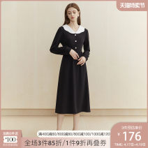 Dress Autumn 2020 Black lace collar maple leaf orange lace collar Black Butterfly collar black small square collar maple leaf orange small square collar XS S M L XL Mid length dress singleton  Long sleeves commute Doll Collar High waist Solid color Socket other bishop sleeve Others 25-29 years old