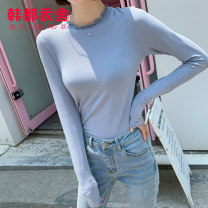 Wool knitwear Autumn of 2019 S M L Blue Ivory Long sleeves singleton  Socket Viscose 30% and below Regular routine commute Self cultivation routine Solid color Socket Korean version GQ10567 18-24 years old Hstyle / handu clothing house Three dimensional decorative Ruffle Pure e-commerce (online only)
