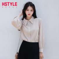 shirt Blue apricot S M L Autumn of 2019 polyester fiber 96% and above Long sleeves commute Regular Polo collar routine Solid color 18-24 years old Straight cylinder Hstyle / handu clothing house Korean version GS10159. Polyester 100% Pure e-commerce (online only)