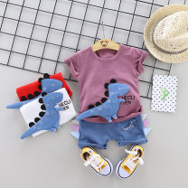 T-shirt Milky white, purple, pink, light yellow, light blue, Navy 3, pearl yellow, red 3, white 3 Other / other 73cm,80cm,90cm,100cm,110cm,120cm neutral summer Short sleeve Crew neck leisure time No model nothing cotton Cartoon animation Cotton 95% polyurethane elastic fiber (spandex) 5% Class A