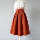 skirt Winter of 2019 S. M, l, XL, 2XL, customizable Caramel Mid length dress gorgeous High waist A-line skirt Animal design Type A Wool Ziweiyi
