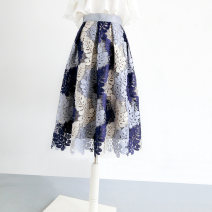 skirt Autumn 2020 S. M, l, XL, 2XL, customizable blue Mid length dress gorgeous High waist A-line skirt Decor Type A No pockets Lace Ziweiyi Embroidery, lace