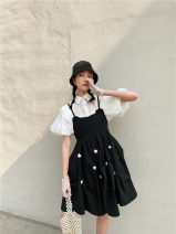 Dress Spring 2021 White, black S, M Short skirt singleton  Short sleeve commute Crew neck High waist Solid color Socket A-line skirt routine camisole 18-24 years old Type A An Xin original Splicing polyester fiber