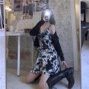 Women's large Spring 2021, summer 2021 Ink suspender skirt, black cardigan M [suggested 90-100 kg], l [suggested 100-120 kg], XL [suggested 120-135 kg], 2XL [suggested 135-150 kg], 3XL [suggested 150-165 kg], 4XL [suggested 165-180 kg], s [suggested 80-90 kg] Dress Two piece set commute moderate
