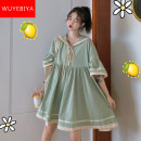 Dress Summer 2020 Bean green brick red S M L Mid length dress singleton  Short sleeve commute Admiral Loose waist Solid color Socket Big swing Lotus leaf sleeve Others 18-24 years old Type A Midnight Biya Korean version Pleated lace up print XSZ20060102 71% (inclusive) - 80% (inclusive) cotton