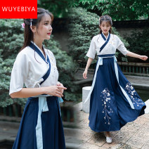 Dress Summer 2021 S M L XL XXL longuette Two piece set Short sleeve commute other High waist other other A-line skirt routine Others 18-24 years old Type A Midnight Biya Korean version Embroidered pocket lace up panel 71% (inclusive) - 80% (inclusive) other cotton Cotton 75% polyester 25%