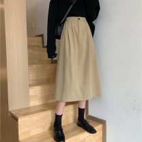 skirt Spring 2021 Average size Brown, black Mid length dress commute High waist A-line skirt Solid color Type A 18-24 years old 7923X 71% (inclusive) - 80% (inclusive) cotton Korean version