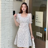 Dress Summer 2021 Pink flowers, blue flowers Average size Middle-skirt singleton  Short sleeve commute square neck Decor Socket puff sleeve 18-24 years old Type A Korean version 99101X 51% (inclusive) - 70% (inclusive) polyester fiber