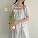 Dress Summer 2021 Black, white S,M,L Middle-skirt singleton  Short sleeve commute High waist A-line skirt 18-24 years old Type A Korean version More than 95% cotton