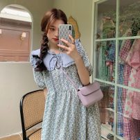 Dress Summer 2021 Blue, pink Average size Mid length dress Two piece set Short sleeve commute Doll Collar Broken flowers puff sleeve 18-24 years old Korean version 189H 71% (inclusive) - 80% (inclusive) polyester fiber