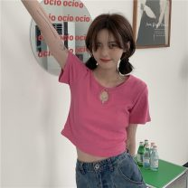 T-shirt Black, fruit green, rose pink Average size Summer 2021 Short sleeve Crew neck Self cultivation have cash less than that is registered in the accounts commute polyester fiber 71% (inclusive) - 85% (inclusive) 18-24 years old Korean version Solid color 1504H