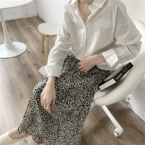 skirt Summer 2021 Average size White, coffee Mid length dress commute High waist A-line skirt Leopard Print Type A 18-24 years old 9161M 51% (inclusive) - 70% (inclusive) polyester fiber Korean version