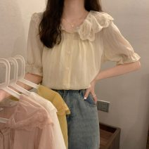 Lace / Chiffon Summer 2021 White Chiffon shirt, apricot chiffon shirt, yellow chiffon shirt, pink chiffon shirt Average size elbow sleeve commute Cardigan singleton  Straight cylinder Regular Doll Collar Solid color puff sleeve 18-24 years old 1559H Button Korean version polyester fiber