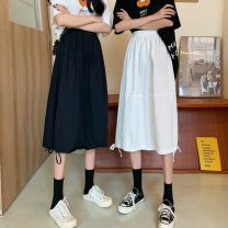 skirt Summer 2021 Average size White, black Mid length dress commute High waist A-line skirt Solid color Type A 18-24 years old 7139X 71% (inclusive) - 80% (inclusive) polyester fiber Korean version
