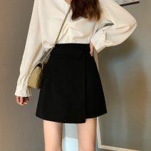 skirt Summer 2021 S,M,L Gray, black Short skirt commute High waist A-line skirt Solid color Type A 18-24 years old 6935X 71% (inclusive) - 80% (inclusive) polyester fiber zipper Korean version