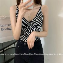 Vest sling Summer 2021 Black and white stripes Average size singleton  have cash less than that is registered in the accounts Self cultivation commute camisole 18-24 years old 81% (inclusive) - 90% (inclusive) polyester fiber 5505F