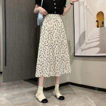 skirt Summer 2021 Average size White, black Mid length dress commute High waist A-line skirt Broken flowers Type A 18-24 years old 0059H 81% (inclusive) - 90% (inclusive) polyester fiber Korean version