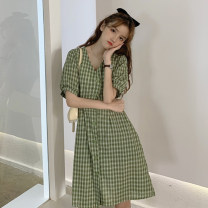 Dress Summer 2021 Red, green, yellow, pink Average size Middle-skirt singleton  Short sleeve commute V-neck Loose waist lattice Single breasted A-line skirt other 18-24 years old Type X Korean version Bandage 81% (inclusive) - 90% (inclusive) acrylic fibres