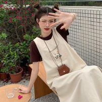 Fashion suit Summer 2021 Average size Coffee short sleeve, apricot vest skirt 18-25 years old 9621H 71% (inclusive) - 80% (inclusive) cotton