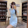 Dress Summer 2021 Light blue, gray, pink, black Average size Short skirt singleton  Short sleeve commute Polo collar High waist Solid color Socket A-line skirt routine Others 18-24 years old Type A Korean version 822F 81% (inclusive) - 90% (inclusive) cotton