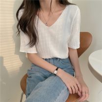 Wool knitwear Summer 2021 Average size Apricot, orange, white, green, blue, yellow, black, pink Short sleeve singleton  Socket Viscose 71% (inclusive) - 80% (inclusive) have cash less than that is registered in the accounts routine commute easy V-neck routine Solid color Socket Korean version 8645H
