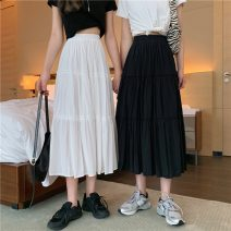 skirt Summer 2021 Average size White, black Mid length dress commute High waist Cake skirt Solid color Type A 18-24 years old 8239X 71% (inclusive) - 80% (inclusive) polyester fiber Korean version