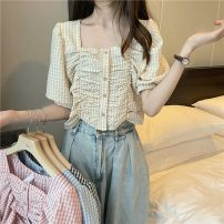 shirt Blue, yellow, black, pink Average size Summer 2021 polyester fiber 51% (inclusive) - 70% (inclusive) Short sleeve commute Short style (40cm < length ≤ 50cm) square neck Socket puff sleeve 18-24 years old Straight cylinder Korean version 795X