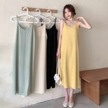 Dress Summer 2021 Average size Mid length dress singleton  Sleeveless commute Crew neck Loose waist Solid color Socket A-line skirt camisole 18-24 years old Type A Korean version 51% (inclusive) - 70% (inclusive) polyester fiber