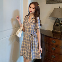 Dress Summer 2021 Picture color Average size Mid length dress singleton  Short sleeve commute tailored collar High waist lattice double-breasted A-line skirt routine Others 18-24 years old Type X Korean version 6010F 51% (inclusive) - 70% (inclusive) polyester fiber