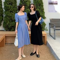 Dress Spring 2021 Blue, black M, L Middle-skirt singleton  Short sleeve commute square neck Solid color Socket A-line skirt puff sleeve 18-24 years old Type A Korean version 51% (inclusive) - 70% (inclusive) cotton