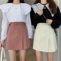 skirt Spring 2021 S,M,L White, black, pink Short skirt commute High waist A-line skirt Solid color 18-24 years old 1003F 71% (inclusive) - 80% (inclusive) polyester fiber Korean version
